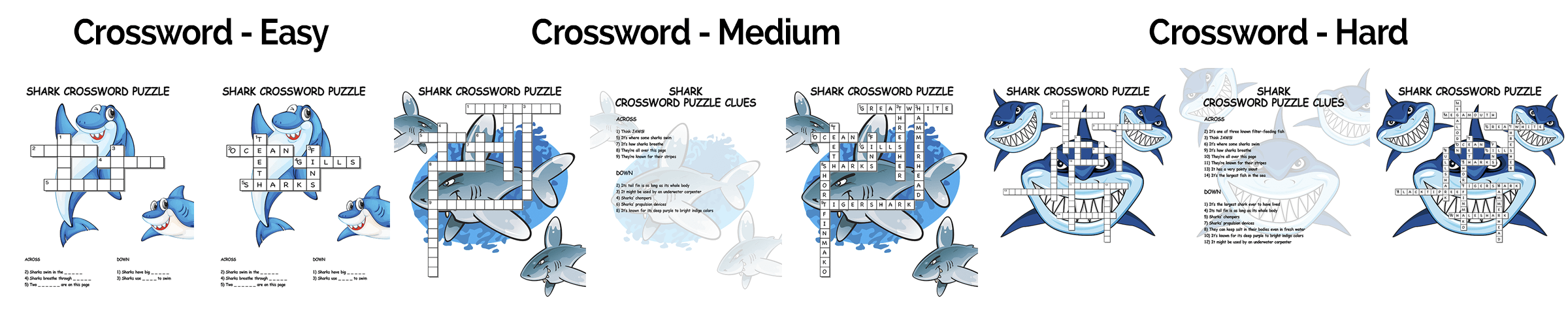 Super Shark Pack Crosswords