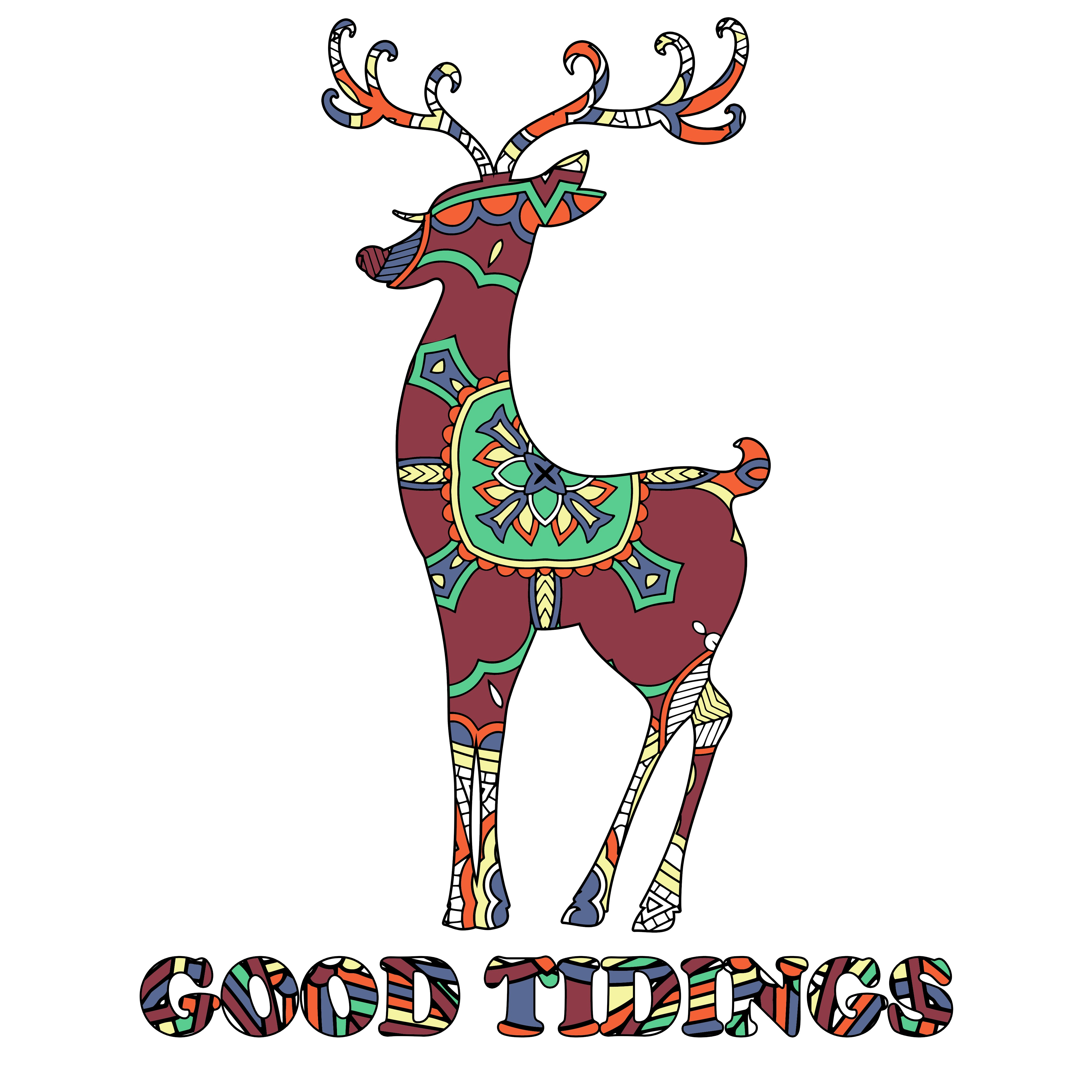 Reindeer Template + Design + Phrase Colored